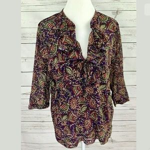 Chaps Top Purple V-Neck 3/4 Sleeve Lined Plus